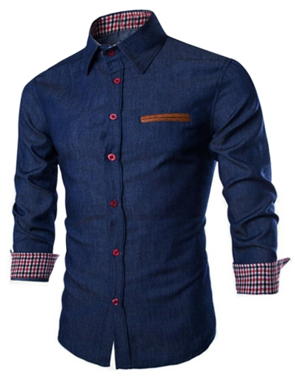 Us luxury mens denim shirts long sleeve button down slim for Mens long sleeve button down shirts