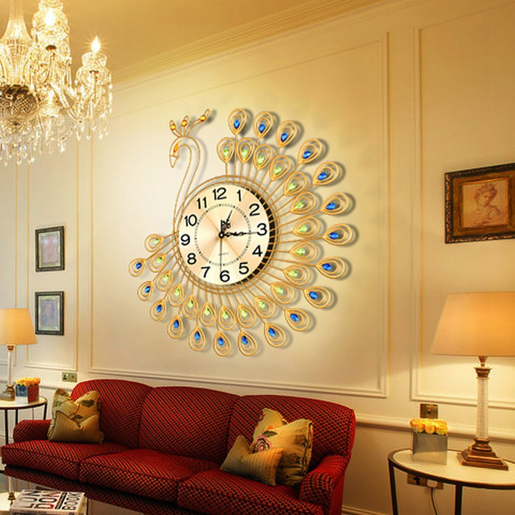Creative gold peacock large wall clock metal living room for Gold home decorations