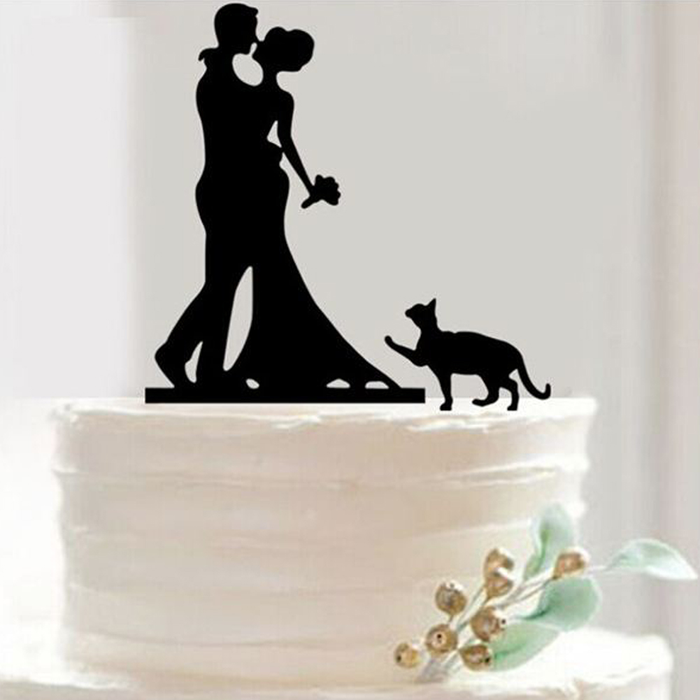 Funny Wedding Cake Toppers Bride Groom With Cat Puppy ...
