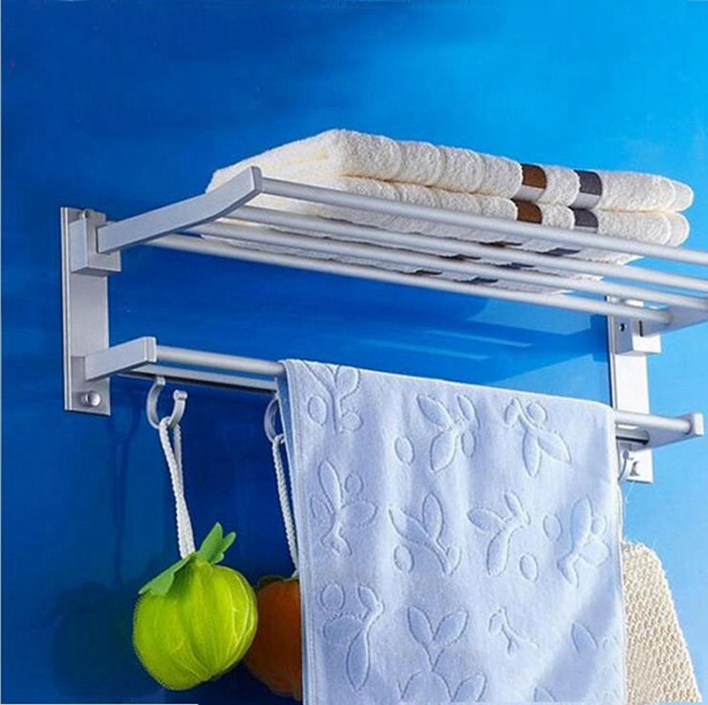 40cm Space Aluminum Bath Shelf Wall Mounted Foldabel 2 Tier Towel Rack With Hook Ebay