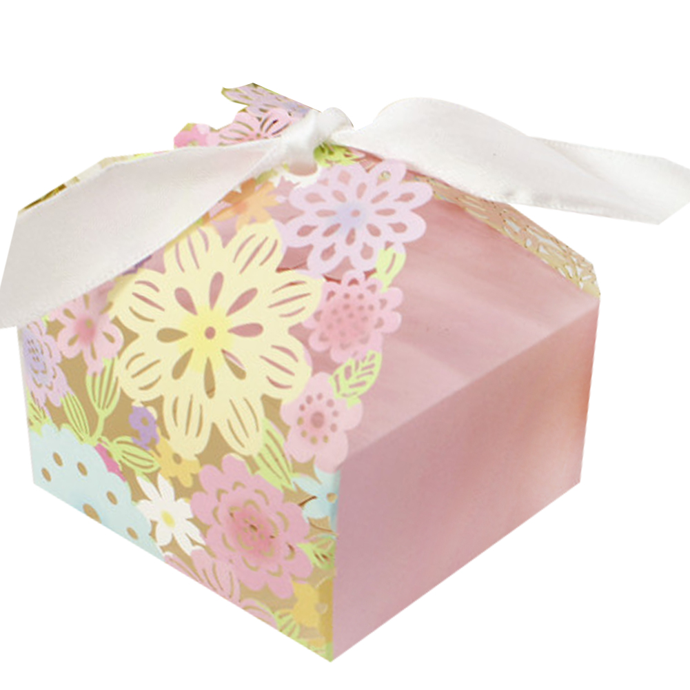 ... Colorful Flowered-pattern Laser-carving Hollow Wedding Favor Candy Box